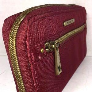 Travelon Maroon Nylon RFID Blocking Zip Wallet